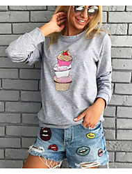 preiswerte -Damen Pullover Übergrössen Alltag Freizeit Solide Rundhalsausschnitt Ohne Futter Mikro-elastisch Baumwolle Acryl Japanische Baumwolle