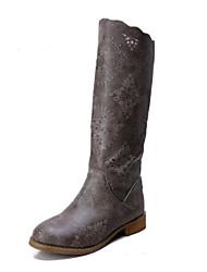 preiswerte -Damen Schuhe PU Frühling Herbst Komfort Stiefel Flacher Absatz Geschlossene Spitze Mittelhohe Stiefel für Normal Draussen Schwarz Grau