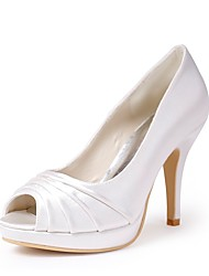 cheap -Women's Shoes Silk Spring Summer Basic Pump Wedding Shoes Stiletto Heel Peep Toe Draped for Wedding Party & Evening White