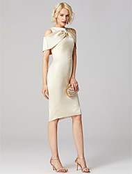 cheap -Sheath / Column Jewel Neck Knee Length Satin / Jersey Cocktail Party Dress with Side Draping / Pleats by TS Couture®