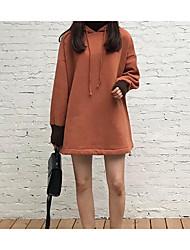 女性用 シンプル ストリートファッション 日常 パーカー ソリッド フード付き ライナー無し マイクロエラスティック コットン 長袖 冬 秋
