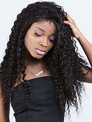 cheap -Human Hair Lace Front Wig Malaysian Hair Curly Kinky Curly With Baby Hair 250% Density Natural Hairline Medium Long Women's Human Hair