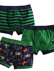 cheap -Boys' Striped All Seasons Underwear, Linen/Cotton Blend Micro-elastic Green Red
