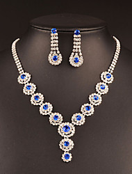 cheap -Women's Cubic Zirconia Jewelry Set - Silver Drop Classic, Vintage, Elegant Include Drop Earrings / Choker Necklace / Bridal Jewelry Sets Dark Blue / Blue / Pink For Wedding / Party / Engagement