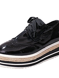 cheap -Women's Shoes PU Spring Fall Comfort Oxfords Low Heel for Casual Black Silver