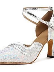 baratos -Sapatos de Dança Moderna Paetês / Couro Sintético Sandália / Salto Laços Salto Personalizado Personalizável Sapatos de Dança Prata