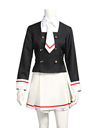 cheap -Inspired by Cardcaptor Sakura Sakura Anime Cosplay Costumes Cosplay Suits Black & White Long Sleeves Top Skirt Collar Socks For Women's