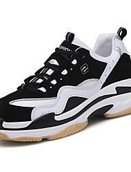 baratos -Mulheres Sapatos Couro Ecológico Primavera Outono Conforto Tênis Corrida Sem Salto Dedo Fechado para Atlético Casual Preto