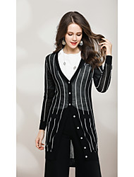 cheap -Women's Going out Cute Street chic Long Sleeves Long Cardigan - Solid Colored Striped V Neck