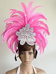 baratos -Carnaval Chapéus Rosa claro Pena Acessórios para Cosplay Carnaval Baile de Máscaras