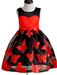 cheap -Girl's Christmas Birthday Patchwork Flower/Floral Dress, Cotton Summer Sleeveless Cute Casual Red