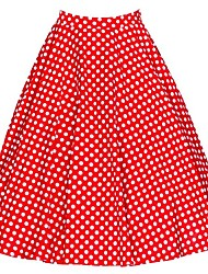 cheap -Women's Daily Going out Above Knee Skirts,Vintage Casual A Line Cotton Polka Dot Floral All Seasons