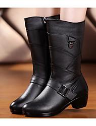 Недорогие -Жен. Обувь Наппа Leather Кожа Весна Осень Удобная обувь Модная обувь Ботинки На толстом каблуке Сапоги до середины икры для Повседневные