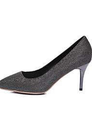 preiswerte -Damen Schuhe Leder Herbst Komfort High Heels Stöckelabsatz Geschlossene Spitze für Normal Draussen Grau