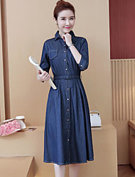 cheap -Women's Going out Simple Denim Dress,Solid Shirt Collar Midi Half Sleeve Cotton Spring Fall Mid Rise Micro-elastic Opaque
