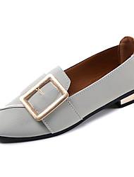 Недорогие -Жен. Обувь Полиуретан Весна Удобная обувь Мокасины и Свитер На плоской подошве Квадратный носок Черный / Серый / Зеленый