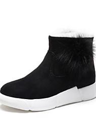 preiswerte -Damen Schuhe PU Winter Herbst Komfort Stiefel Flacher Absatz Geschlossene Spitze Booties / Stiefeletten für Normal Draussen Schwarz
