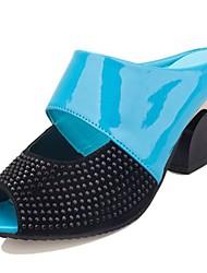 cheap -Women's Shoes PU Winter Comfort Sandals Chunky Heel Peep Toe for Casual Blue Beige Orange Black