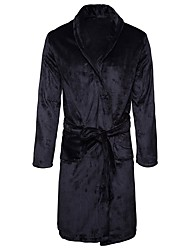 cheap -Men's Satin & Silk Pajamas,Solid Cotton Light gray Khaki Navy Blue Black