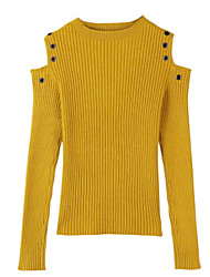 Недорогие -Жен. На каждый день Длинный рукав Пуловер - Однотонный / Осень