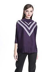 economico -T-shirt Per donna Boho A pieghe, Monocolore A collo alto