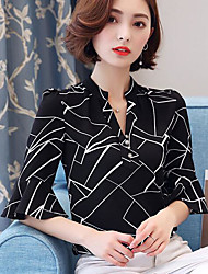 cheap -Women's Daily Casual Summer Shirt,Print V Neck ½ Length Sleeve Polyester Medium