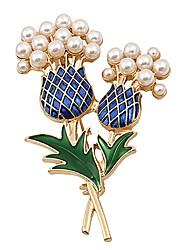 baratos -Mulheres Broches Imitação de Pérola Básico Adorável Doce Imitação de Pérola Liga Flor Dourado Jóias Para Diário
