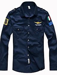 economico -Camicia Per uomo Militare Tinta unita Colletto alla francese
