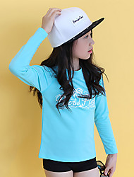 cheap -Girls' Solid Tee,Cotton Winter Short Sleeve Vintage Light Blue Green