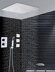 Moderní Instalace na zeď Dešťová sprcha Včetne sprchové hlavice Termostatický Keramický ventil Dvě držadla devítka Pochromovaný ,