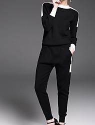 abordables -Mujer Noche Algodón Conjunto - Un Color Pantalón