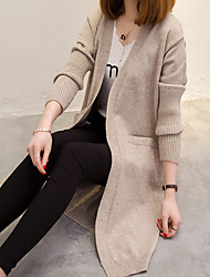 cheap -Women's Daily Casual Long Cardigan,Solid V Neck Long Sleeve Cashmere Winter Thick Inelastic