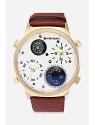 cheap -Men's Sport Watch Fashion Watch Military Watch Chinese Quartz Thermometer Dual Time Zones Large Dial Punk Compass Leather Band Casual