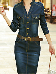 cheap -Women's Street chic / Sophisticated Sheath / Denim Dress - Solid Colored