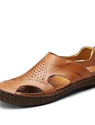 Cipele Prava koža Koža Ljeto Udobne cipele Sandale za Kauzalni Crn Braon