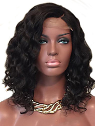 cheap -Human Hair Brazilian Lace Wig Curly Water Wave Glueless Lace Front African American Wig Side Part Natural Hairline 130% Density Natural