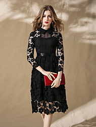 cheap -Women's Party Holiday Street chic Sophisticated Lace Dress,Solid Shirt Collar Midi Long Sleeve Cotton Polyester Spring Summer Mid Waist