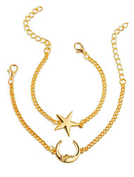 cheap -Women's Chain Bracelet , Double Layered Simple Fashion Alloy Moon Star Jewelry Gift Daily Going out Street Costume Jewelry Gold Silver