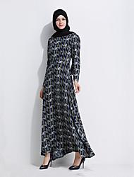 cheap -Fashion Jalabiya Kaftan Dress Abaya Arabian Dress Women's Festival / Holiday Halloween Costumes Green Printing