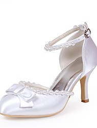 preiswerte -Damen Schuhe Seide Frühling Sommer Pumps Hochzeit Schuhe Stöckelabsatz Geschlossene Spitze Schleife Imitationsperle für Hochzeit Party &