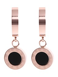 cheap -Women's Stainless Steel Drop Earrings / With Gift Box - Metallic / Korean Rose Gold Circle Earrings For Daily
