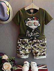 Недорогие -Мальчики Набор одежды Хлопок камуфляж Лето Военно-зеленный