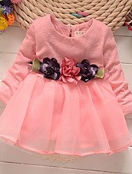 cheap -Girl's SchoolWear Daily Solid Simple Jacquard Dress, Cotton Acrylic All Seasons Long Sleeves Cute Active Princess White Blushing Pink