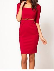 baratos -Mulheres Trabalho Algodão Tubinho Bainha Vestido - Franzido, Sólido Decote Quadrado Cintura Alta Altura dos Joelhos Vermelho