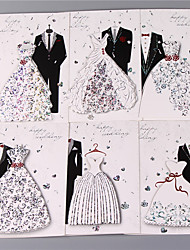 cheap -Side Fold Wedding Invitations 6 sets - Invitation Cards Invitations Sets Artistic Style Vintage Style Bride & Groom Style Embossed Paper