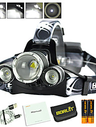 cheap -Boruit® B22 Headlamps LED 650 lm 4 Mode Cree XP-E R2 Cree XM-L L2 with Batteries and USB Cable Zoomable Professional Adjustable High