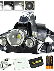 Недорогие -Boruit® B22 Налобные фонари Светодиодная лампа 650 lm 4.0 Режим Cree XP-E R2 Cree XM-L L2 с батарейками и USB кабелем Масштабируемые Для