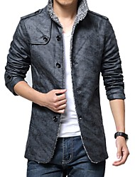 cheap -Men's Daily Going out Vintage Casual Boho Winter Fall Leather Jacket,Solid Stand Long Sleeve Regular PU
