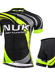 cheap -Nuckily Men's Short Sleeves Cycling Jersey with Shorts - Green Geometic Bike Shorts Jersey Clothing Suits, Ultraviolet Resistant,