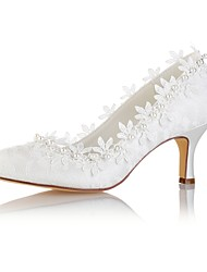 abordables -Femme Chaussures Satin Elastique Printemps / Automne Escarpin Basique Chaussures de mariage Talon Aiguille Bout rond Perle / Appliques